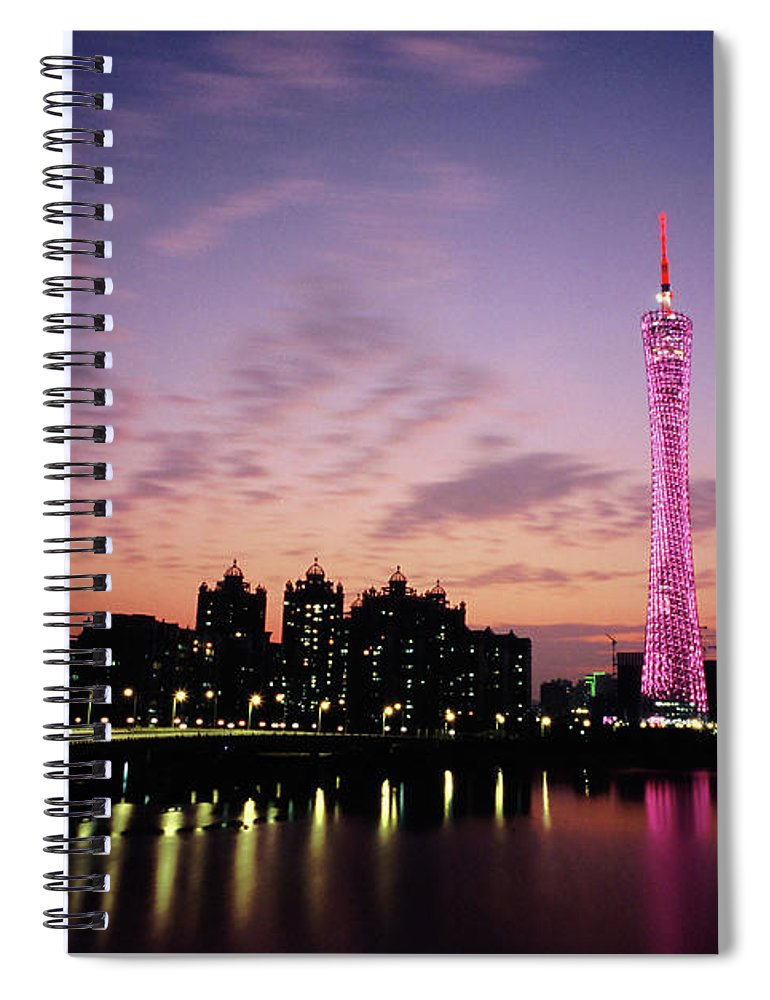 Built Structure Spiral Notebook featuring the photograph Canton Tv Tower In Sunset Glow by Jimmy Tsang