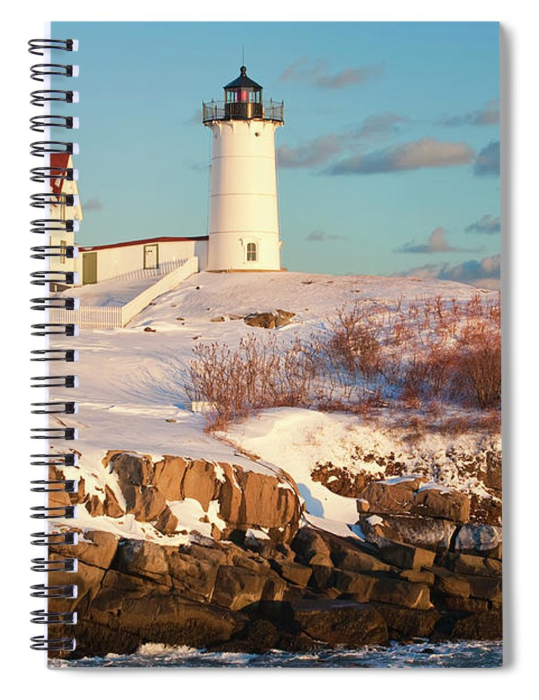 Snow Spiral Notebook featuring the photograph Cape Neddick Nubble Light by Kickstand