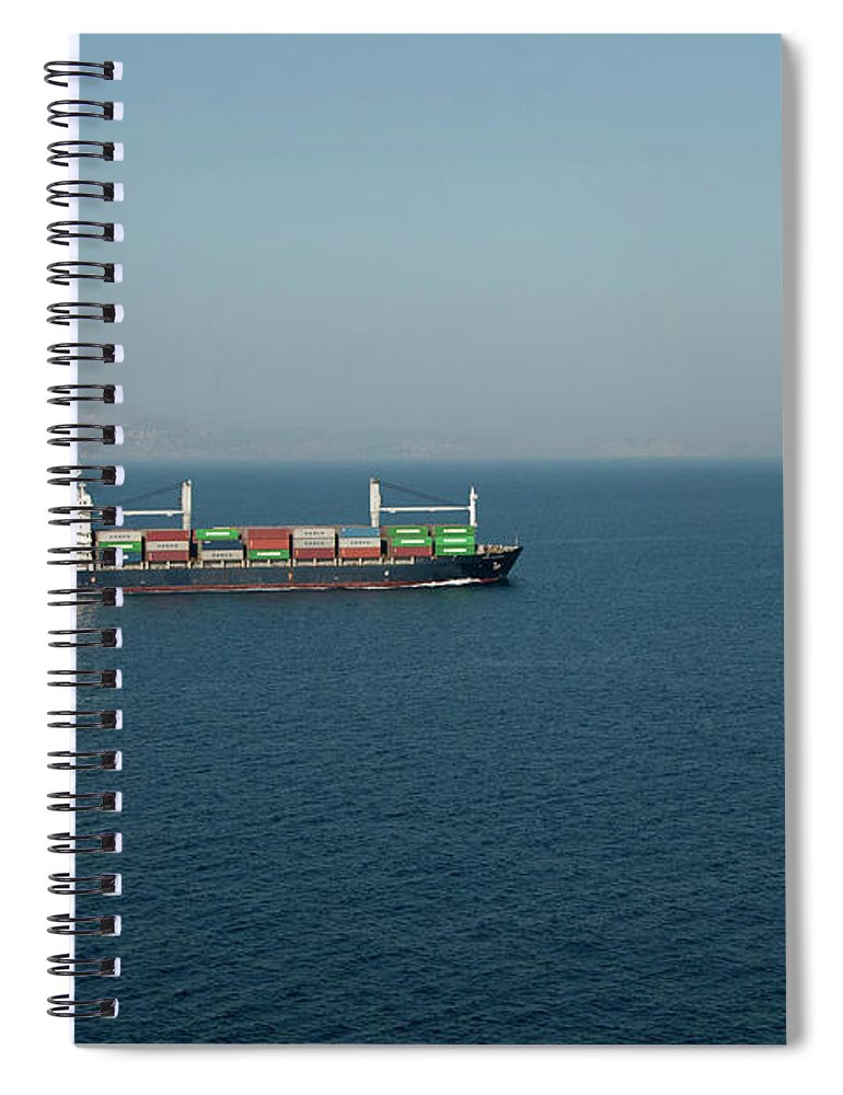 Freight Transportation Spiral Notebook featuring the photograph Cargo Ship At Sea by Mitch Diamond