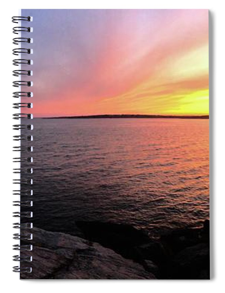 Lighthouse Spiral Notebook featuring the photograph Castle Hill At Sunset by Melissa OGara
