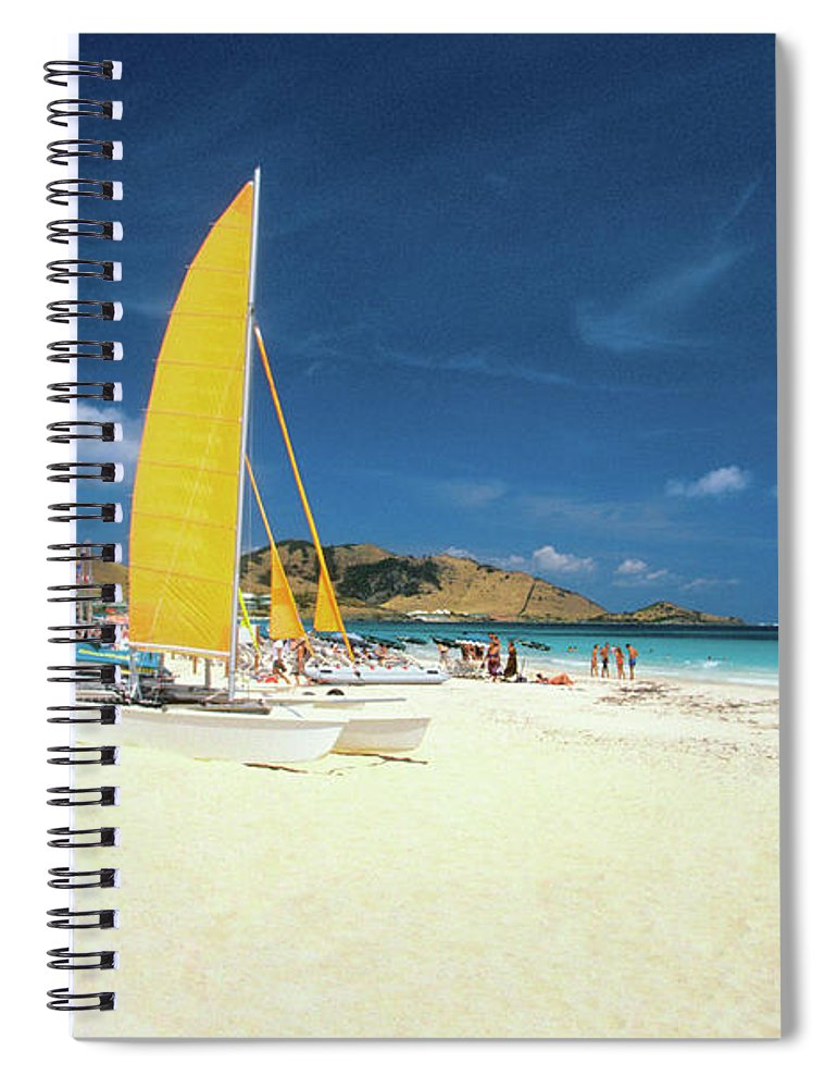 Orient Beach Spiral Notebook featuring the photograph Catamarans And People On Martin Orient by Medioimages/photodisc