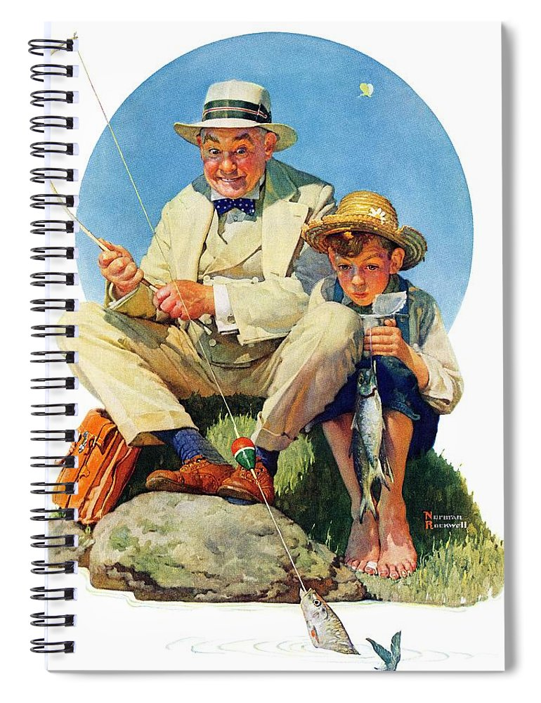 Boy Spiral Notebook featuring the drawing Catching The Big One by Norman Rockwell