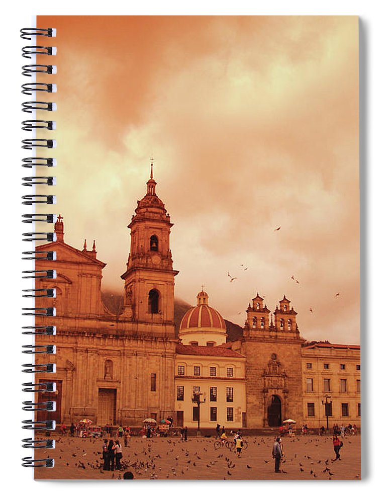 Clock Tower Spiral Notebook featuring the photograph Cathedral In Bogota, Colombia, South by Medioimages/photodisc