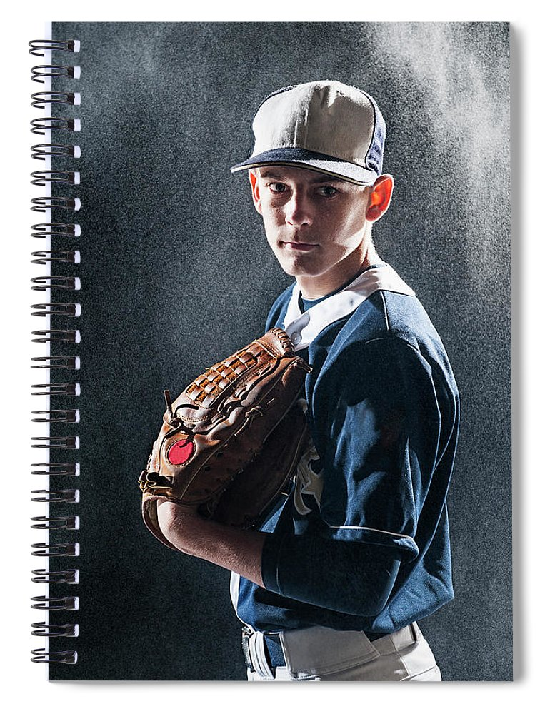 Baseball Cap Spiral Notebook featuring the photograph Caucasian Baseball Player Standing by Erik Isakson