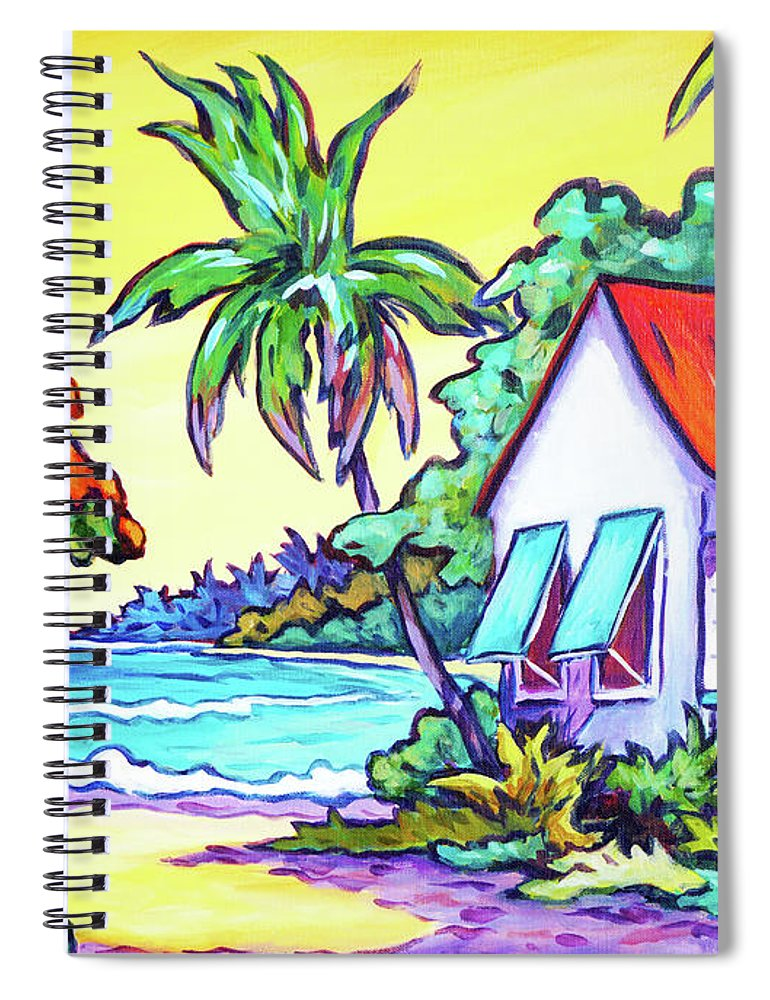 Art Spiral Notebook featuring the painting Cayman Cottage On The Bay by John Clark