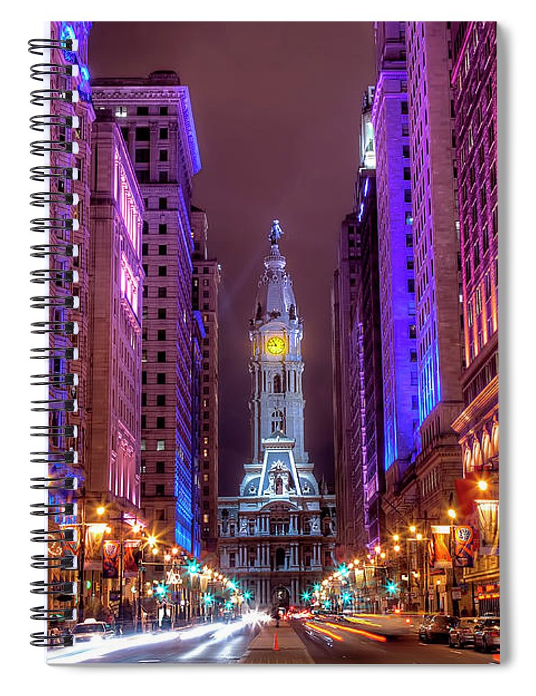 Land Vehicle Spiral Notebook featuring the photograph Center City Philadelphia by Eric Bowers Photo