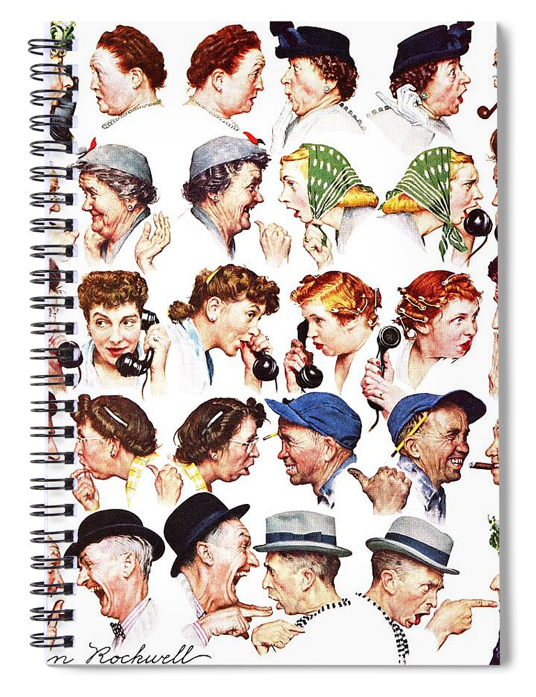 Gossiping Spiral Notebook featuring the drawing Chain Of Gossip by Norman Rockwell
