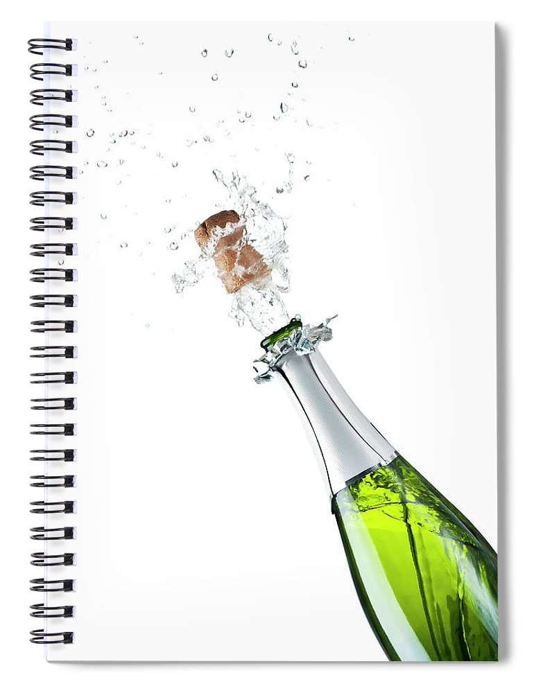 Releasing Spiral Notebook featuring the photograph Champagne Bottle by Mphillips007
