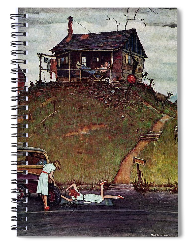 Automobiles Spiral Notebook featuring the drawing Changing A Flat by Norman Rockwell