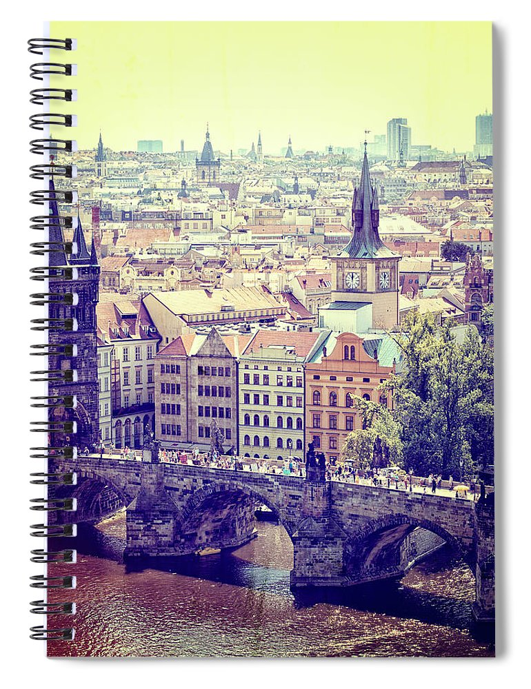 Panoramic Spiral Notebook featuring the photograph Charles Bridge, Prague by Pawel.gaul
