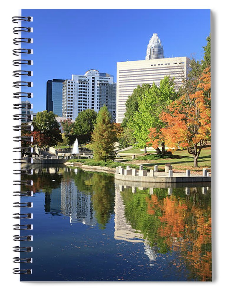 North Carolina Spiral Notebook featuring the photograph Charlotte Skyline And Pond, North by Jumper