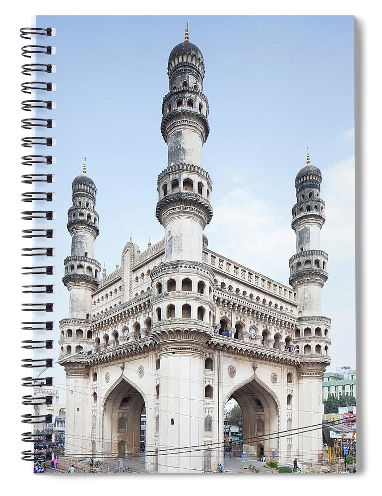 Arch Spiral Notebook featuring the photograph Charminar Monument In Hyderabad by Jasper James