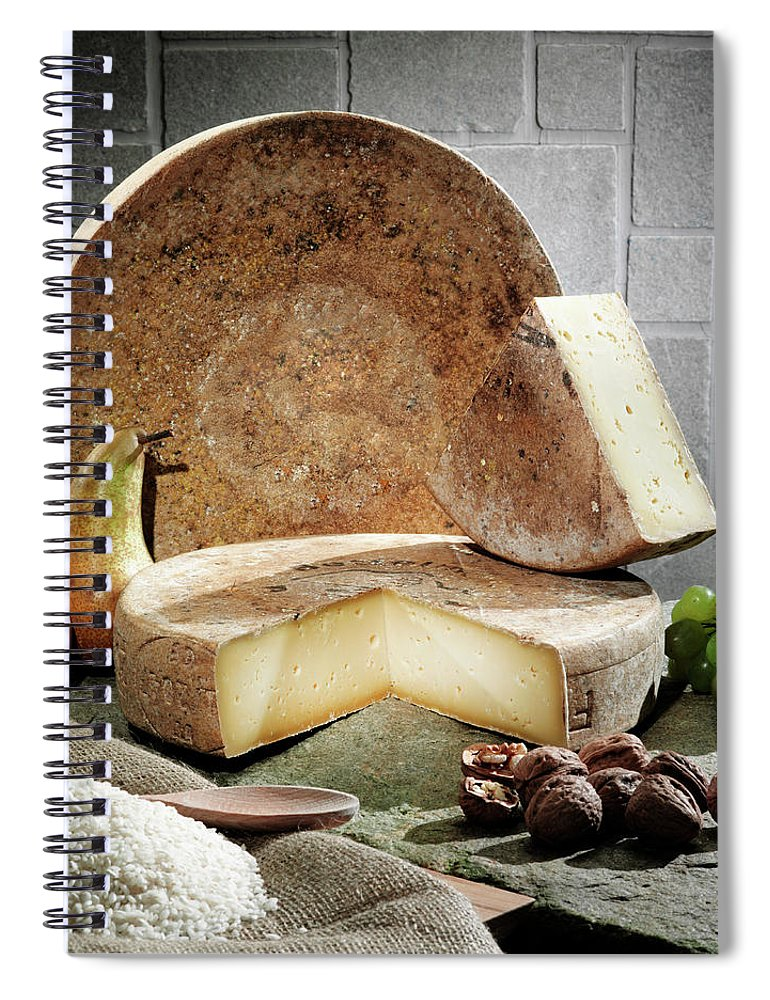 Fontina Spiral Notebook featuring the photograph Cheese, Fruit And Grains On Table by Walter Zerla