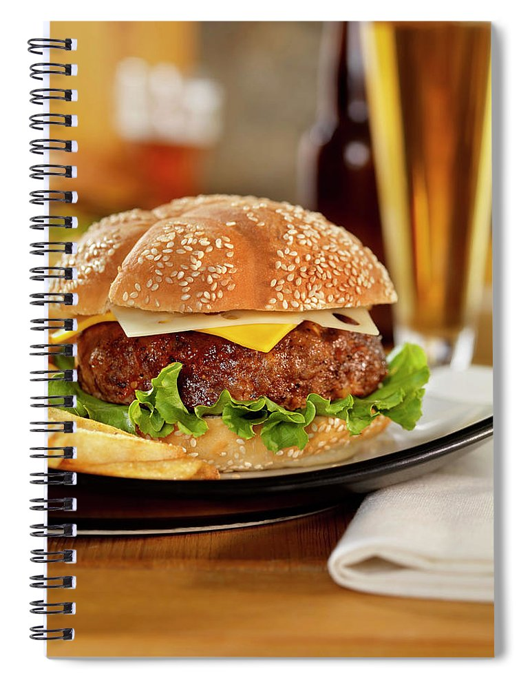 Pub Food Spiral Notebook featuring the photograph Cheeseburger With Fries And A Beer by Lauripatterson