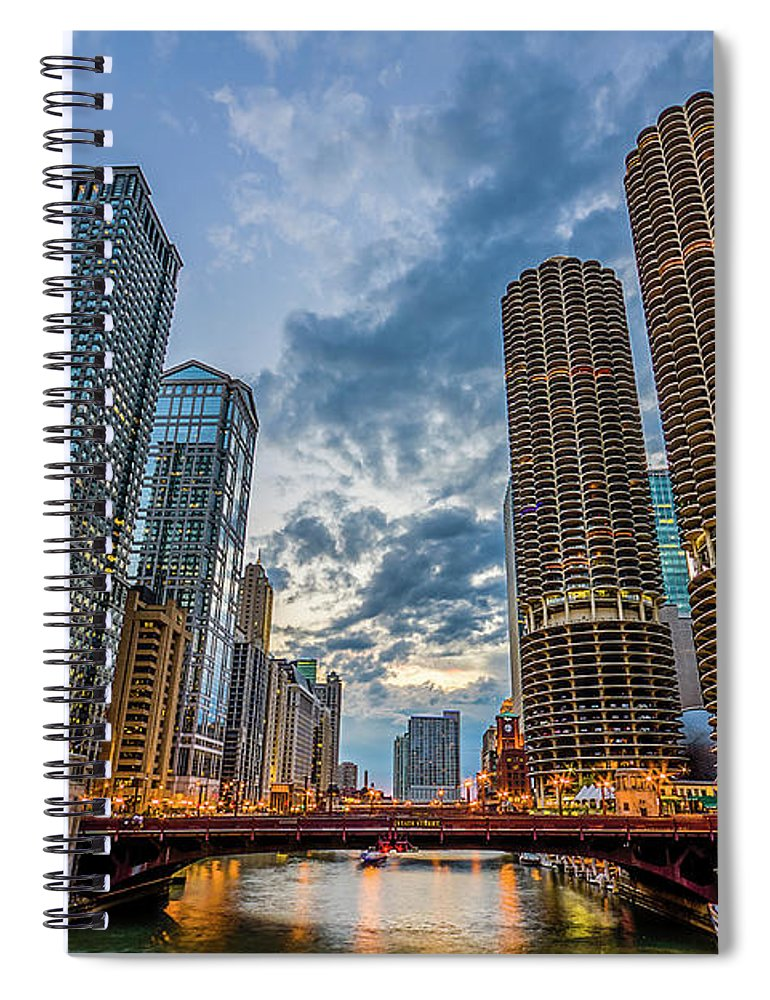 Chicago River Spiral Notebook featuring the photograph Chicago River Sunset by Carl Larson Photography