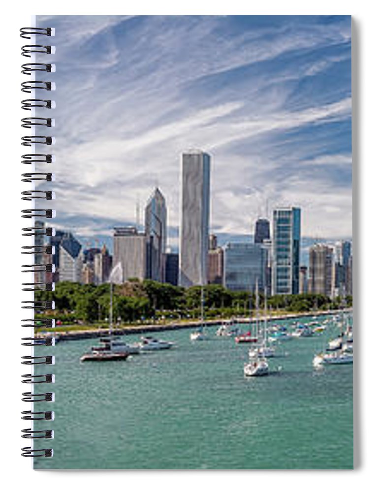 3scape Spiral Notebook featuring the photograph Chicago Skyline Daytime Panoramic by Adam Romanowicz
