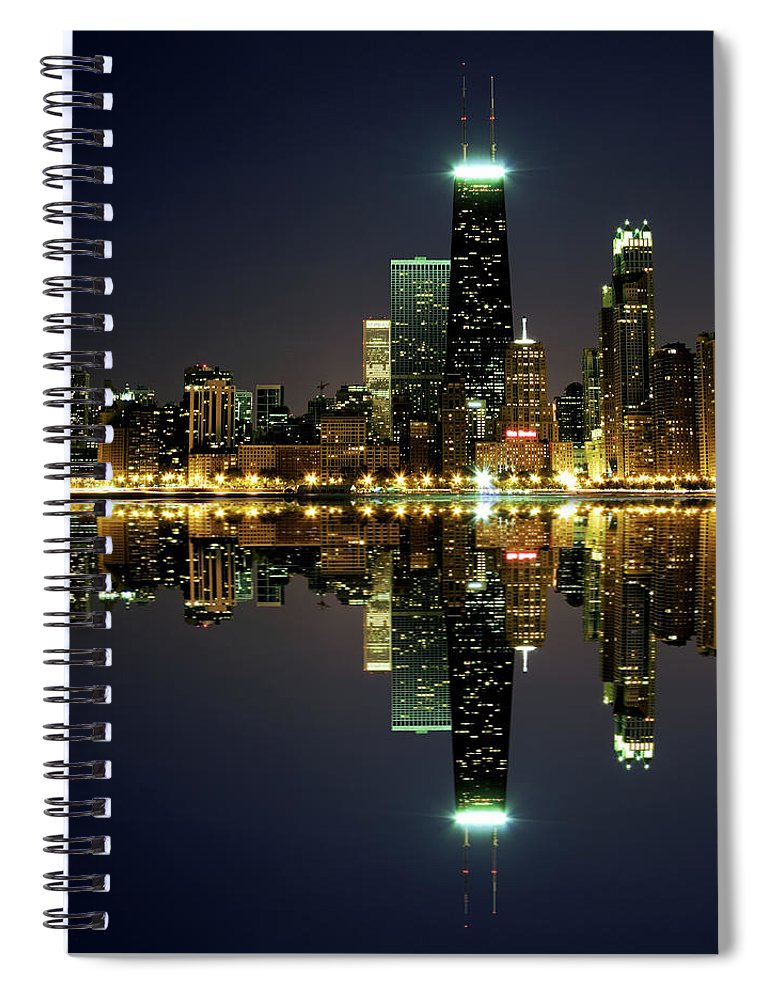 Lake Michigan Spiral Notebook featuring the photograph Chicago Skyline Reflected On Lake by Pawel.gaul