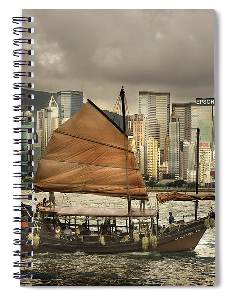 Sailboat Spiral Notebook featuring the photograph China, Hong Kong, Junk Boat In Bay by Maremagnum