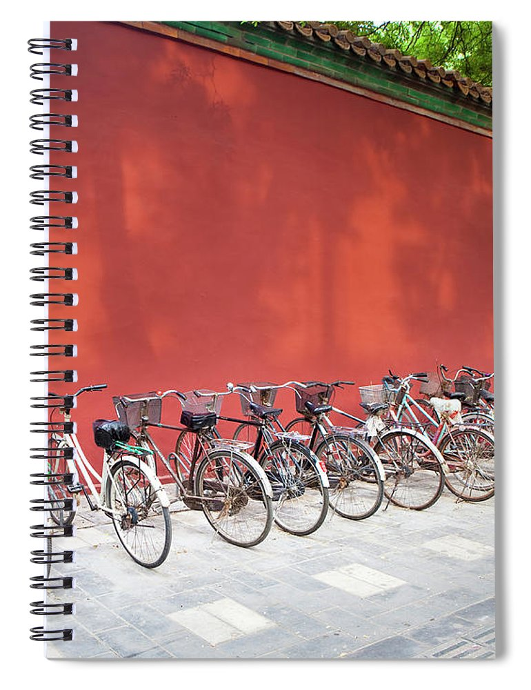 Shadow Spiral Notebook featuring the photograph Chinese Bikes by Sam Diephuis