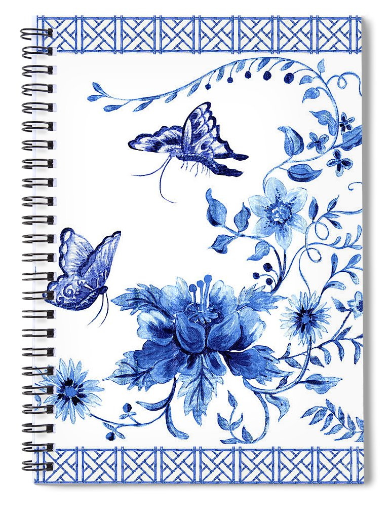 Butterflies Spiral Notebook featuring the painting Chinoiserie Blue And White Pagoda With Stylized Flowers Butterflies And Chinese Chippendale Border by Audrey Jeanne Roberts