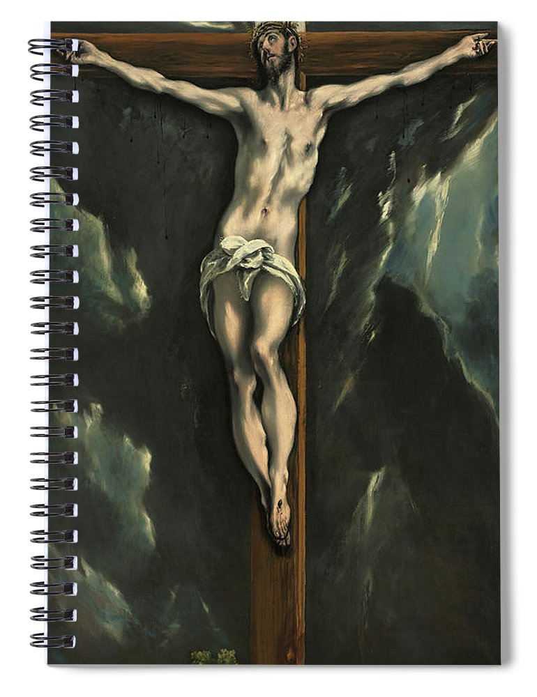 El Greco Spiral Notebook featuring the painting Christ On The Cross, 1610 by El Greco