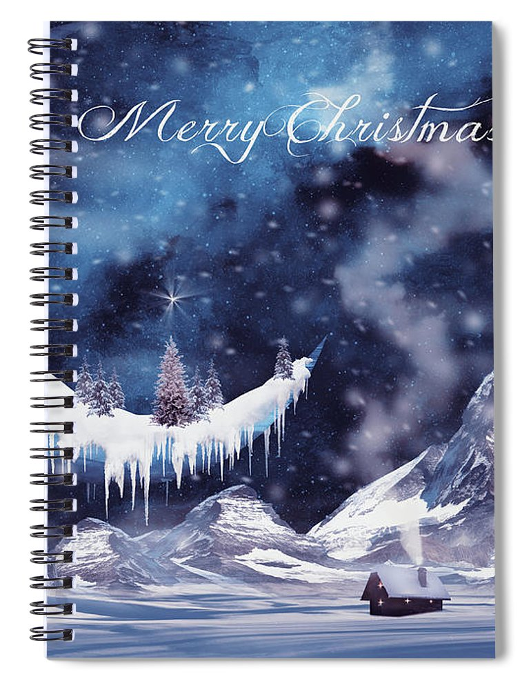 Winter Spiral Notebook featuring the digital art Christmas Card With Frozen Moon by Mihaela Pater