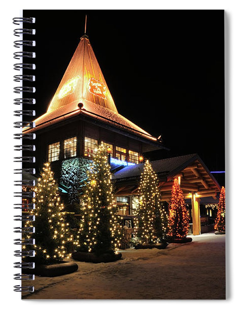 Holiday Spiral Notebook featuring the photograph Christmas Decorated Town by Csondy
