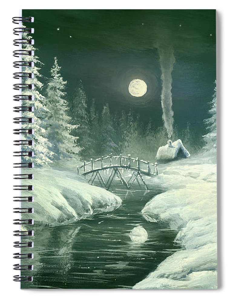 Art Spiral Notebook featuring the digital art Christmas Night In The Country by Pobytov