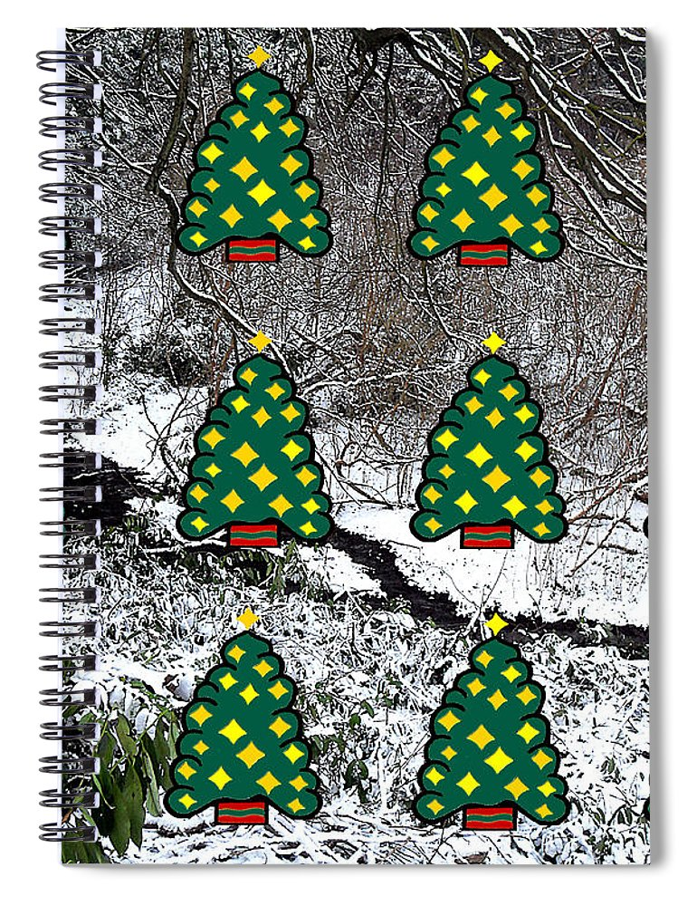 Christmas Spiral Notebook featuring the mixed media Christmas Trees by Patrick J Murphy