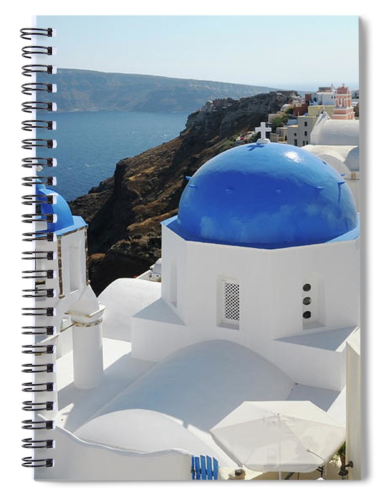 Greek Culture Spiral Notebook featuring the photograph Churches In Oia, Santorini, Greece by Tunart