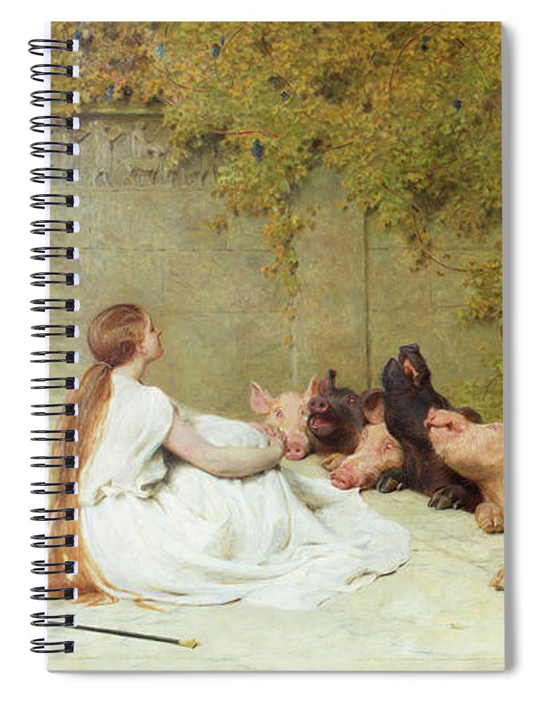 Briton Riviere Circe Spiral Notebook featuring the painting Circe And The Companions Of Ulysses by Briton Riviere