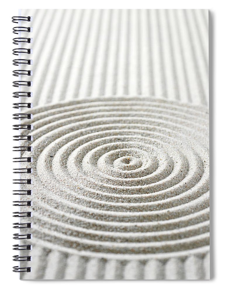 In A Row Spiral Notebook featuring the photograph Circles And Lines In Sand by Wragg