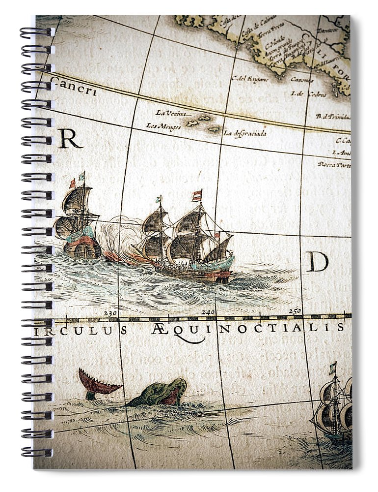 Engraving Spiral Notebook featuring the digital art Circulus Aequinoctalis, Historical Map by Goldhafen