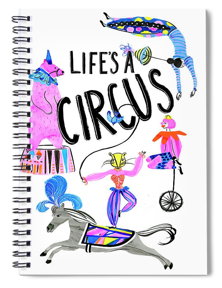 Inspirational & Holidays+inspirational Spiral Notebook featuring the painting Circus Fun Iv by Blanckslate