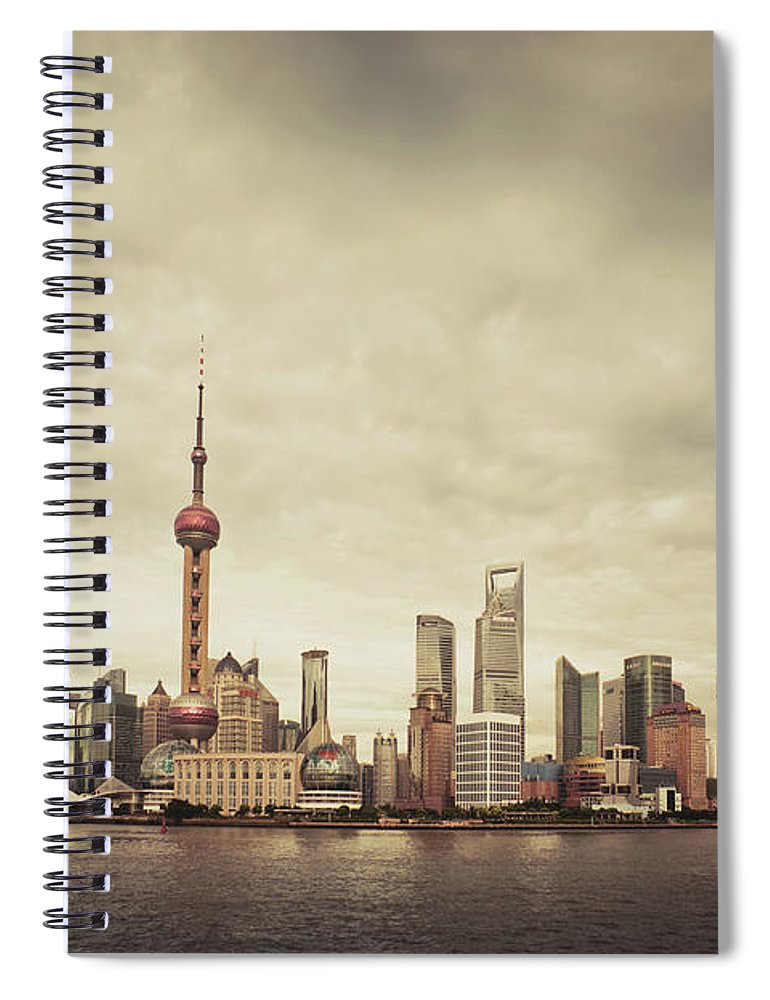 Communications Tower Spiral Notebook featuring the photograph City Skyline At Sunset, Shanghai, China by D3sign