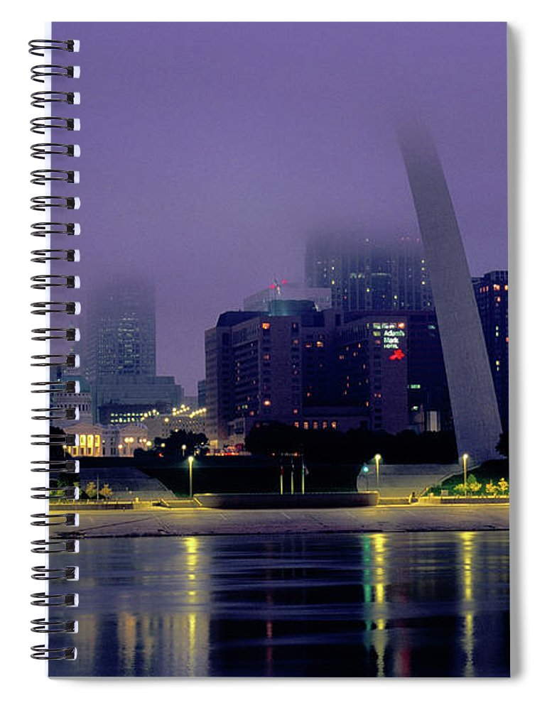 Arch Spiral Notebook featuring the photograph City Skyline In Fog, With Gateway Arch by John Elk Iii