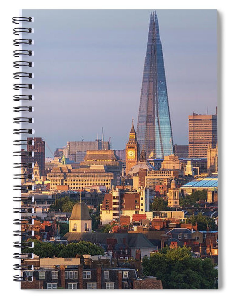 Tranquility Spiral Notebook featuring the photograph City Skyline In Late Evening Sunlight by Simon Butterworth