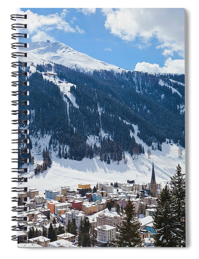 Snow Spiral Notebook featuring the photograph Cityscape Of Davos, Grisons, Switzerland by Werner Dieterich