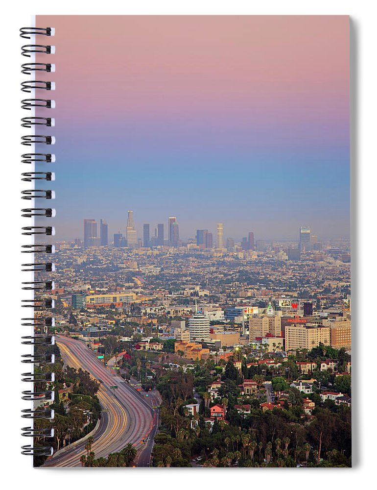 California Spiral Notebook featuring the photograph Cityscape Of Los Angeles by Eric Lo