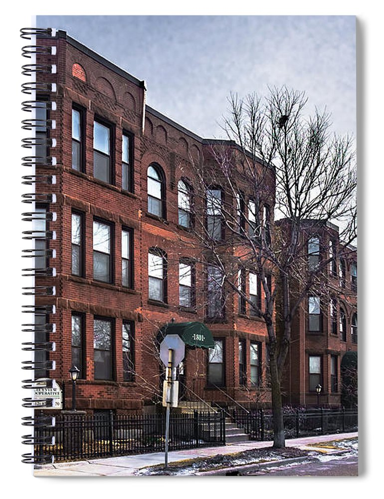 Minneapolis Spiral Notebook featuring the photograph Cityview Cooperative, Minneapolis by Joel Friedman