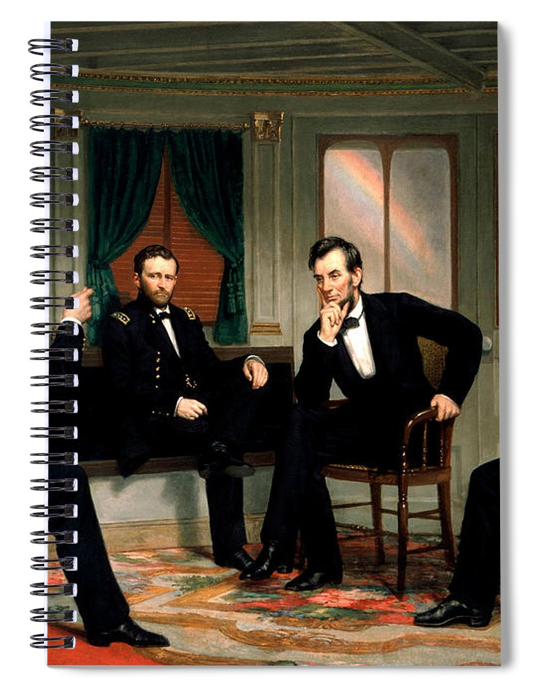Civil War Spiral Notebook featuring the painting Civil War Union Leaders - The Peacemakers - George P.A. Healy by War Is Hell Store