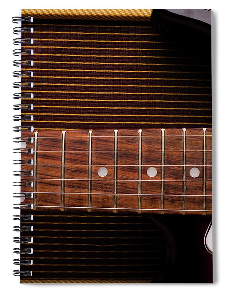 Rock Music Spiral Notebook featuring the photograph Classic Electric Guitar And Amp Still by Halbergman