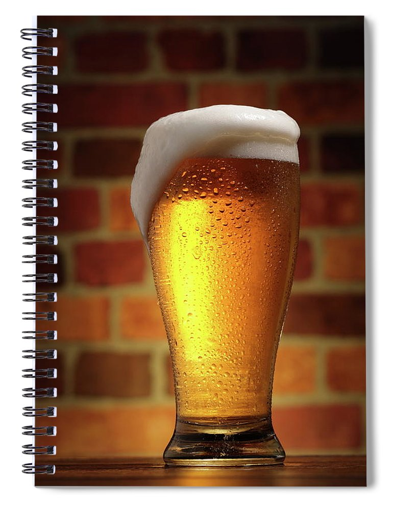 Orange Color Spiral Notebook featuring the photograph Clear Cold Bear With Foam Overflow by Eltoddo