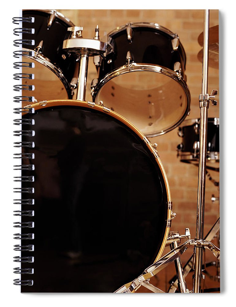 Microphone Stand Spiral Notebook featuring the photograph Close-up Of A Drum Kit by Digital Vision.