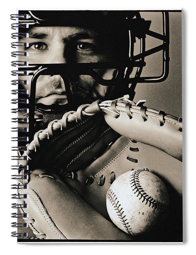Baseball Catcher Spiral Notebook featuring the photograph Close-up Of Catcher by Anthony Saint James