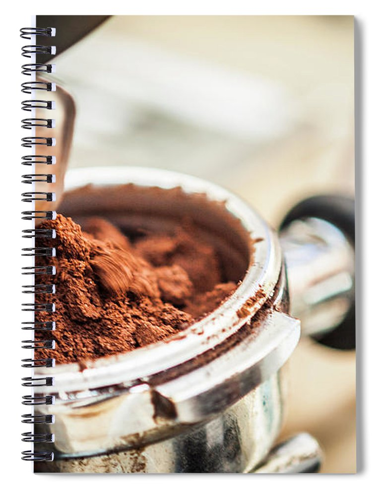 Mature Adult Spiral Notebook featuring the photograph Close Up Of Espresso Grounds In Machine by Manuel Sulzer