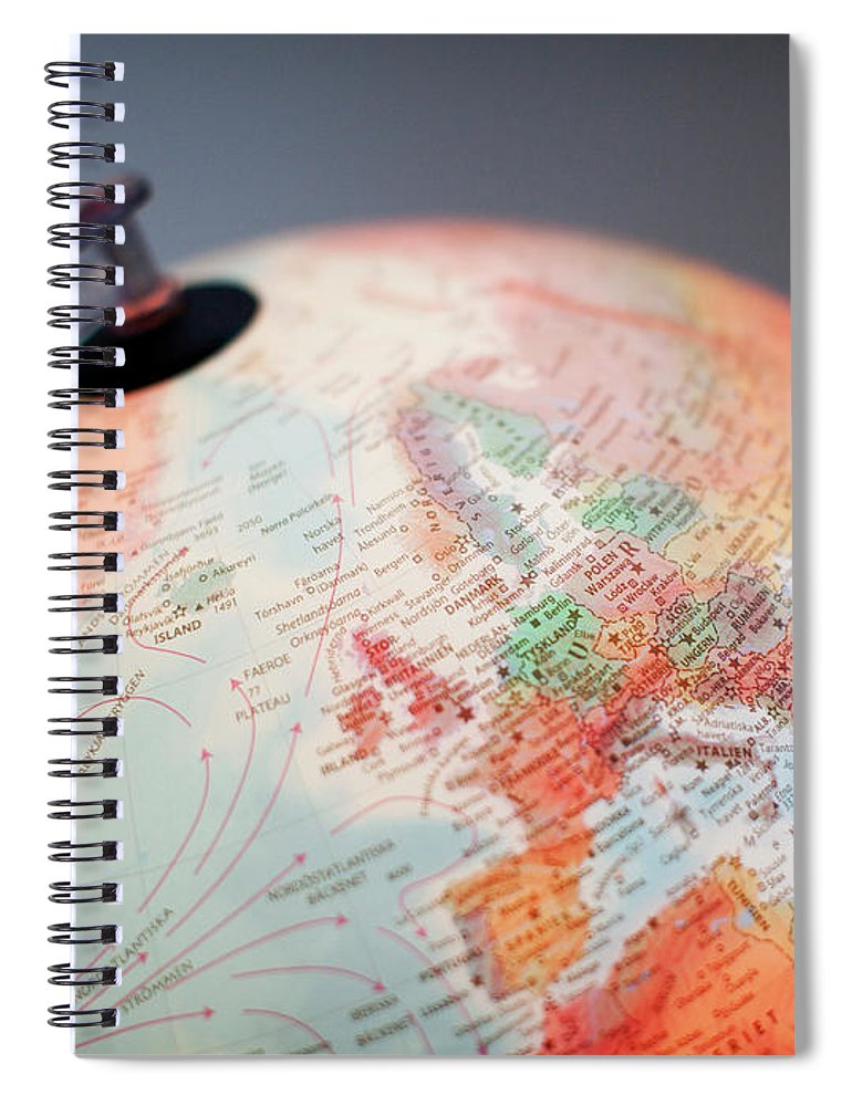 Globe Spiral Notebook featuring the photograph Close-up Of Globe by Kindler, Andreas
