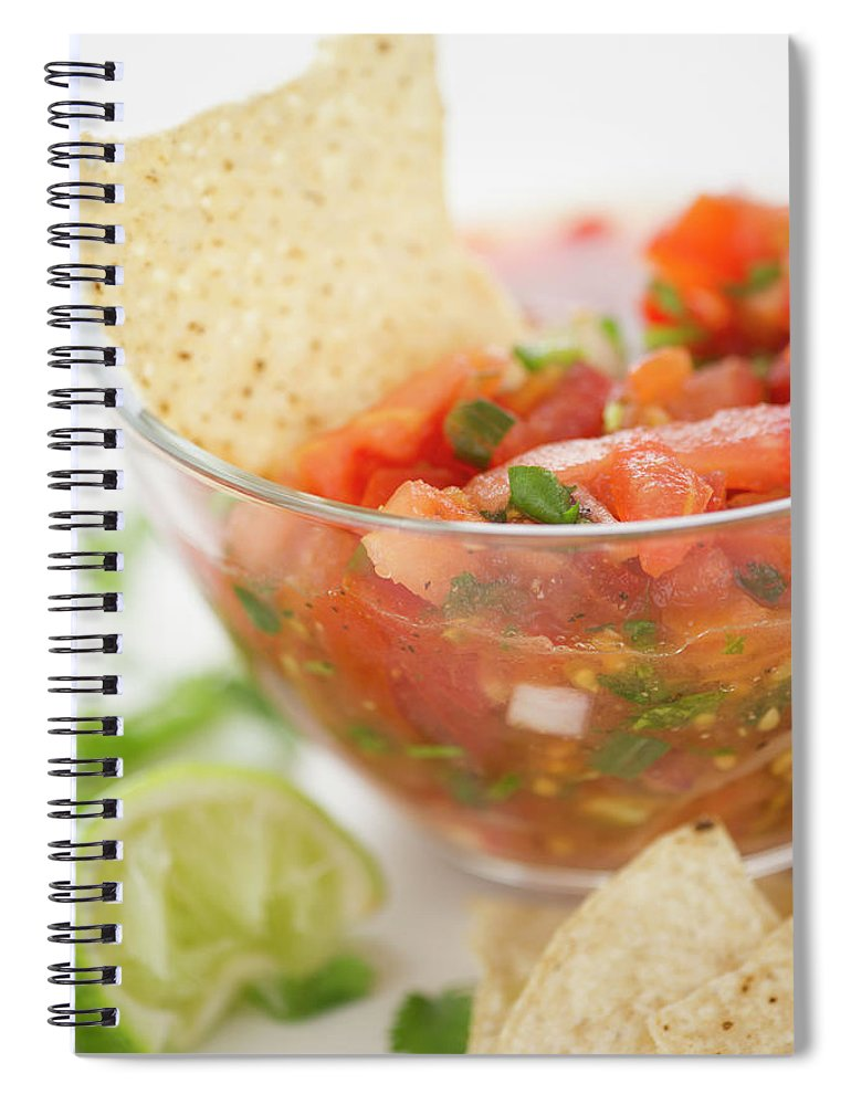 Close-up Spiral Notebook featuring the photograph Close Up Of Salad In Bowl, Studio Shot by Jamie Grill