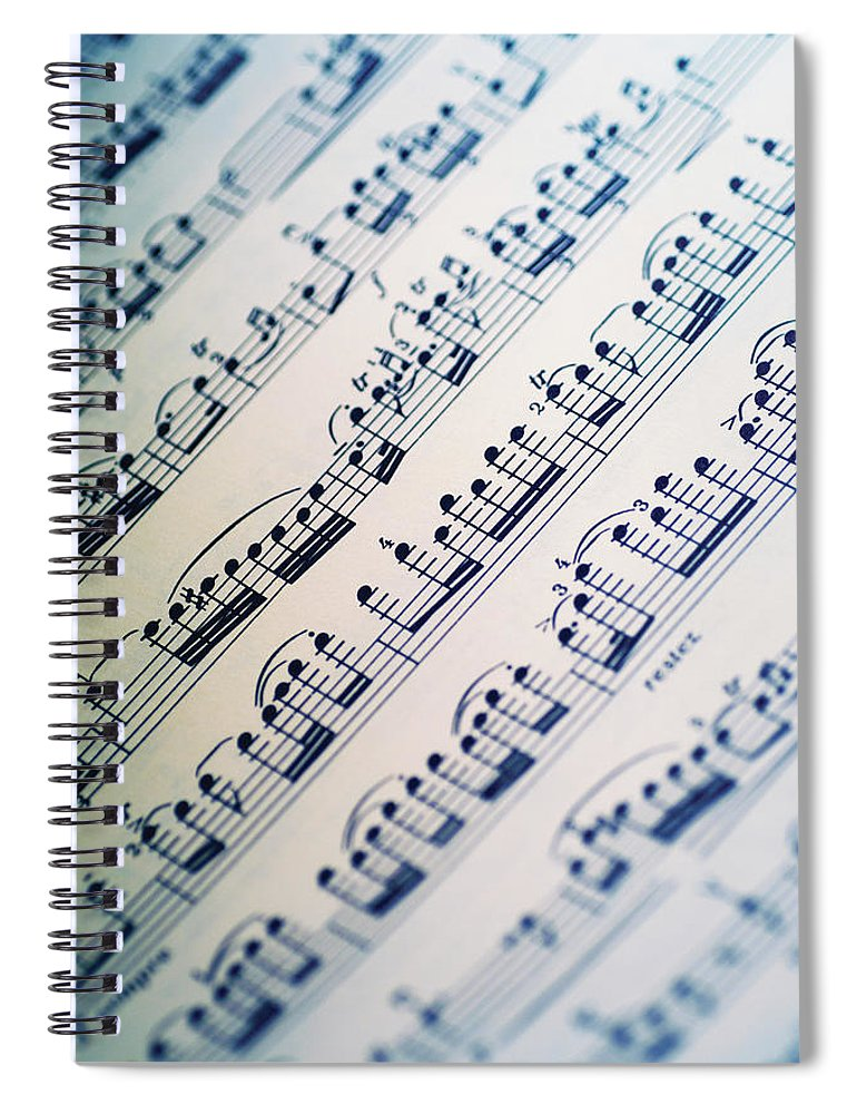 Sheet Music Spiral Notebook featuring the photograph Close-up Of Sheet Music by Medioimages/photodisc