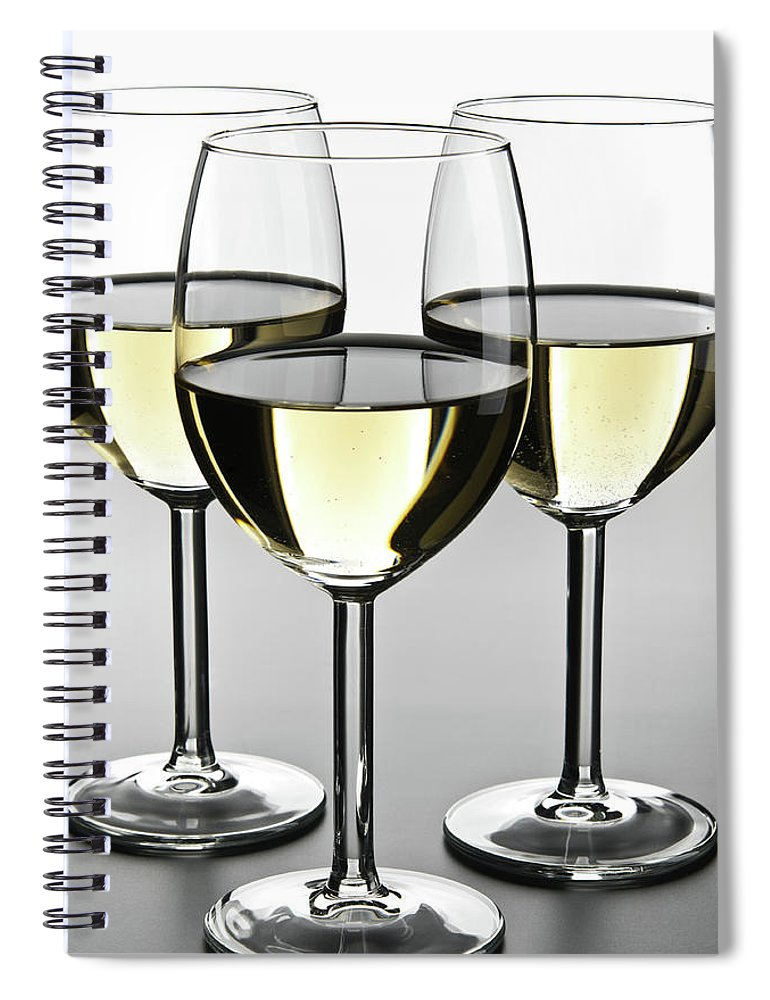Alcohol Spiral Notebook featuring the photograph Close-up Of Three White Wine Glasses by Domin domin